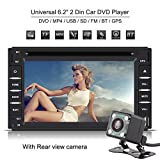 Qiilu 6.2 Inch Double Din Car DVD Player Bluetooth Car Stereo Touch Screen With GPS Navigation Support MP4/USB/SD/FM/BT With Rear View Camera