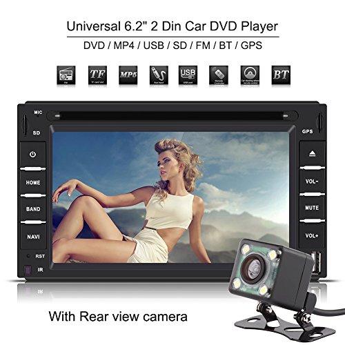 Qiilu 6.2 Pulgadas 2 DIN Reproductor de DVD de Coche Pantalla Táctil Bluetooth GPS Navi Mapa Estéreo Radio/DVD/CD/MP5/USB/SD Audio Am/FM Multimedia con Cámara Visión Trasera