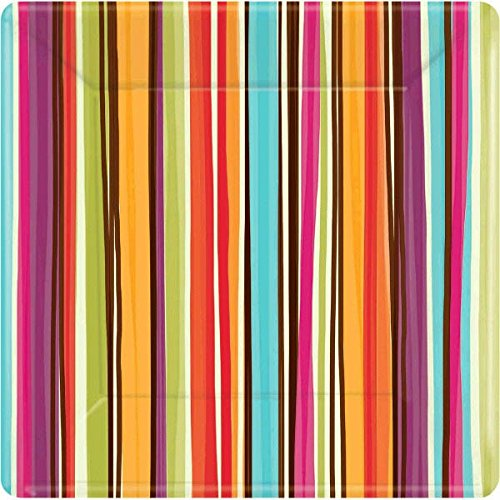 amscan-disposable-square-dinner-plates-in-stylish-stripes-print-10-x-10-orange-light-blue-hot-pink-v