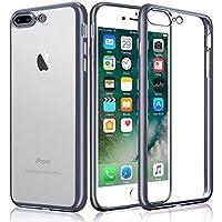 iPhone 7 Plus Custodia, KKtick iPhone 7 Plus Case Cover Sottile Silicone Galvanica TPU, Anti Slip, Antigraffio, Antiurto Bumper pelle protettiva per iPhone 7 Plus (nero)