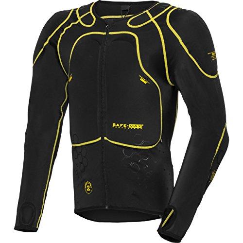 Safe Max® Protektorenjacke Motorrad Protektorenhemd Unterziehjacke mit Protektoren, Level 2, extrem funktional, Schulter-, Ellbogen- und Rückenprotektor, luftig, atmungsaktiv, Schwarz, L