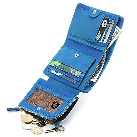 Zenpy Portefeuilles en cuir,unisexe et simple, Portefeuille à carte de crédit,Porte-monnaie en cuir cheval fou de plein grain,avec fermeture à glissière.