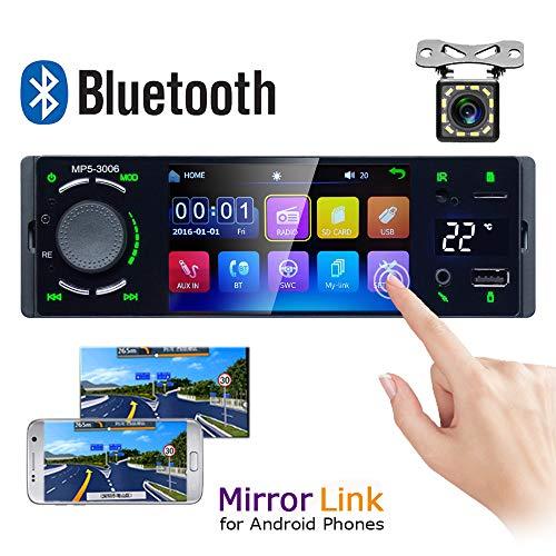 Autoradio Bluetooth Camecho 1 Din 4 '' Écran Tactile Capacitif Radio Stéréo FM Récepteur Téléphone Android Lien Lien avec USB/AUX-in/Fente pour Carte SD + Caméra de recul