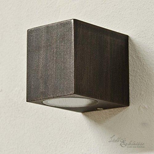 Rustikale Wandleuchte in Antik inkl. 1x 3,2W GU10 LED 230V Wandlampe aus Aluminiumdruckguss für...