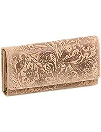 Portefeuille pour femme LEAS, cuir véritable, cognac/beige - ''LEAS Vintage-Collection''