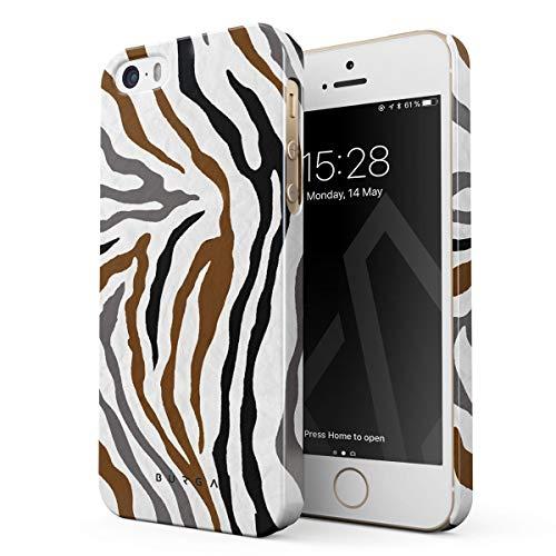 BURGA Hülle Kompatibel mit iPhone 5 / 5s / SE Handy Huelle Wild Zebra Fur Skin Print Exotic Safari Savage Desert Wüste Tier Exotisch Dünn Robuste Rückschale aus Kunststoff Handyhülle Schutz Case Cover -