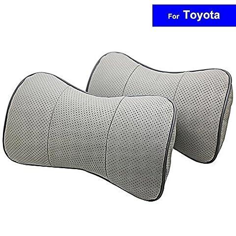 Autosunshine 2pcs Cuir véritable Bone-shape Siège auto cou appui-tête de repos confortable Coussin Oreiller pour Toyota Prado Vios Corolla Yaris RAV4Highlander Landcruiser Camry avec logo