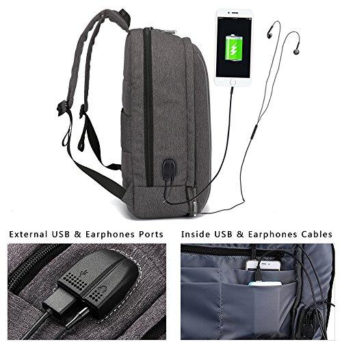 Imagen de xqxa  portátil impermeable backpack para ordenador hasta 17 pulgadas con puerto de carga externa usb para negocio,viajar  25l gris alternativa