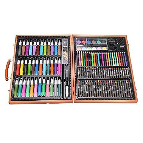 150PCS Children Art Set dans la boîte en bois, BAFFECT® Crayons de couleur Huile Pastels Crayons Marqueurs de couleurs Peintures d'aquarelle Ensemble de peinture pour enfants Entrées Cérémonies Cadeaux