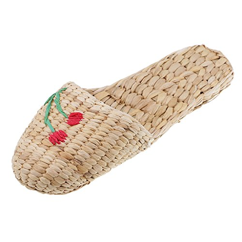 Baoblaze 100% Naturale Intrecciato A Mano In Paglia Intrecciata Sandali/Pantofole Per Uomo E Donna - Paglia Intrecciata A Mano - Super Confortevole E Leggero - Stile Lavorato A Maglia - Multi, 37