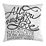 FAFANI Quote Throw Pillow Cushion Cover, All You Need is Love Calligraphy Comic Fun Happiness Quotes Classic Artwork Print, Decorative Square Accent Pillow Case, 18 X 18 inches, Black White