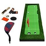 Alfombra de Golf Putter para Oficina de Golf Cubierto Putter para práctica Fairway Mat Niños practicando Manta con Putter Set, 8 mm de Espesor, 2 tamaños Opcional