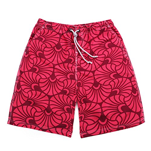 Des Hommes Quick Dry Bord De Mer Vacances Plage Plus-Size Casual Swim Trunk red