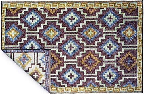 Fabhabitat Tapis intérieur extérieur Lhasa Bleu Roi et Chocolat 270 x 180 cm