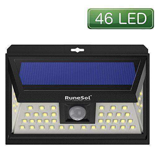 RuneSol® 46 LED Bewegungsmelder LED Solarlicht | LED-Gartenleuchten - Beleuchten Sie Ihre Terrasse, Ihren Zaun, Ihren Garten, Ihre Einfahrt | Sicherheits-LED-Panel Solarleuchte Zaun Panels Garten