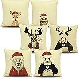 Secret Santa Santa Familie von Tieren auf weißem Hintergrund   6 Stück Leinen Wurfkissenbezug; Deco Sofa / Sofa / Bett leicht zu waschen   Eule Eule Rentier Panda Löwenherz 45x45cm