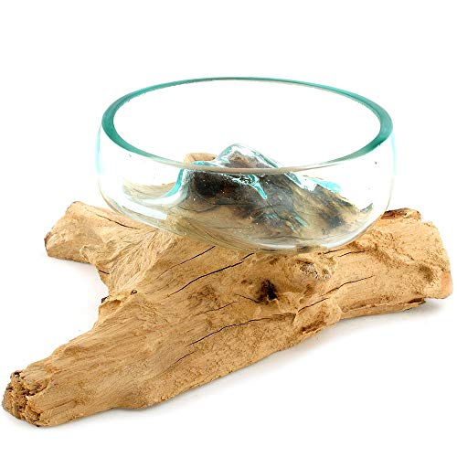 Wurzel mit Glasschale klein Schale Dekoschale Glas auf Holz Ø ca.12-13 cm Wurzelholz Holzdeko Teakholz -