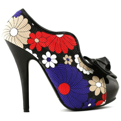 Show Story, Punta chiusa donna Multicolore (Floral-Black)