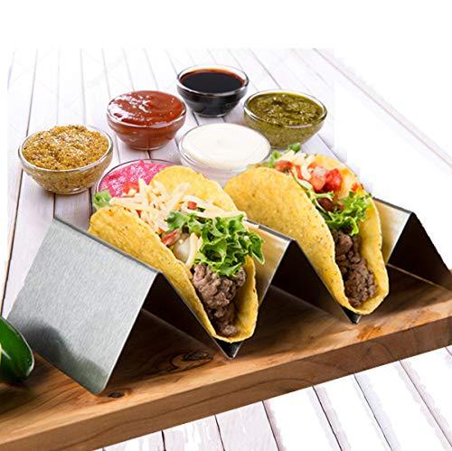 Premium Taco-Halter, stilvoller Edelstahl-Tortilla-Halter, spülmaschinenfest und ofenfest, einfaches praktisches Rack, passend für 3 Tacos, ideal für Abendessen und Partys, perfekt für Vorspeisen.