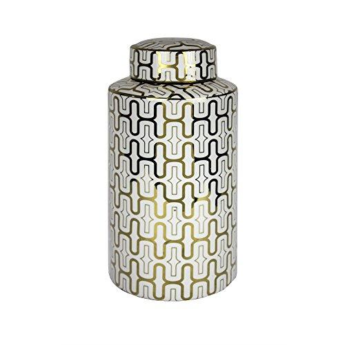 Benzara Ceramic Covered Jar, White/Gold Covered Jar