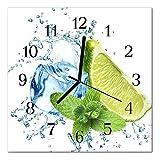 DekoGlas Glasuhr 'Limette Minze grün' Uhr aus Acrylglas, eckig große Motiv Wanduhr 30x30 cm, lautlos für Wohnzimmer & Küche