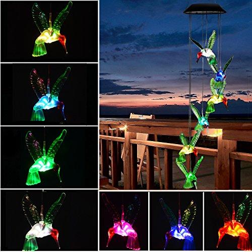iel, LED Licht wechselt Farbe Mobile Windspiel, wasserdicht Sechs Kolibri Windspiel für Zuhause, Party, Garten Dekoration (Plastik Im Freien Weihnachten Dekorationen)