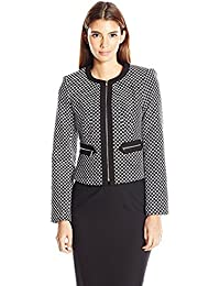 Calvin Klein Women's Petite Size Boucle Jacket Black with Zipper