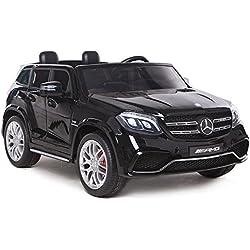 Mercedes GLS63AMG, noir métallisé, Airco, radio FM, tableau de bord multimédia, 2 places, 4x4 réels, 2x12V7ah
