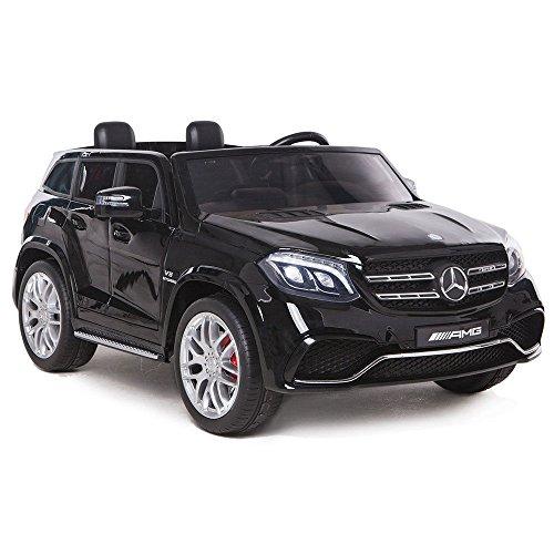 Mondial Toys AUTO ELETTRICA PER BAMBINI 2 POSTI SUPER SUV 2X BATTERIE 12V 4X MOTORE MERCEDES-BENZ GLS63 AMG 4X4 AWD CON SEDILE IN PELLE RUOTE IN GOMMA TELECOMANDO NERA
