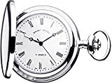 Full Hunter Pocket Watch Chrome Plated Roman Numerals with Date Quartz Movement