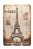 levandeo Schild aus Holz - Holzschild Paris Frankreich Eiffelturm 60x40cm - Wandbild Dekoschild Vintage Bild Holz France Notre Dame Holztafel Wanddeko Wandobjekt Wandschild