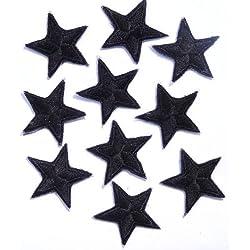 Confezione da 10 ferro Nero su o cucire su stelle