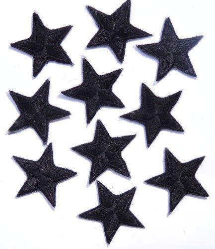 Packung mit 10 Schwarz stickte Eisen auf oder nähen auf Sterne-Patch (Auf Flecken Fußball-eisen)