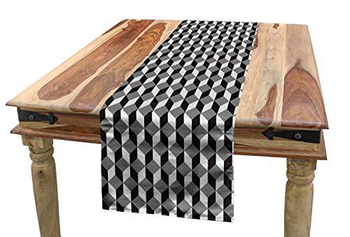 ABAKUHAUS Geometrisch Tischläufer, Chevron Zickzack Würfel, Esszimmer Küche Rechteckiger Dekorativer Tischläufer, 40 x 180 cm, Hellgrau Schwarz und Grau