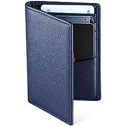 Hardwork Secret Porte Cartes de Crédit, RFID Blocage, Bifold Portefeuille Homme Cuir Véritable, Rangement Carte de Crédit et Billets (Bleu Marine)