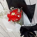 Personalisierter Blumenstrauß Pralinenstrauß Blume Rose aus Krepppapier mit Praline Schokolade Liebe Geschenk Wunschtext Handarbeit binnbonn