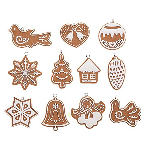 11pcs/pack Cute Polymer Clay Xmas Drop Pendant Ornaments Festival Party Christmas Tree Snowflakes Biscuits Bell Baubles Hanging Decoration