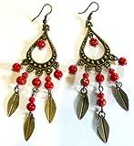 Pendientes étnico joyas piezas de metal India India artesanal, color rojo