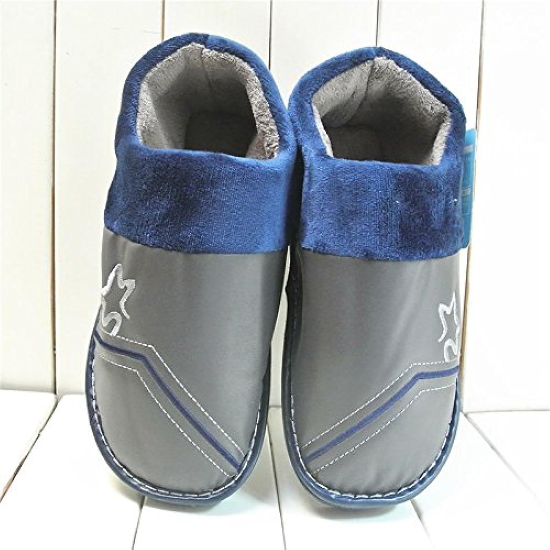 YMFIE Los hombres espesar caliente zapatos zapatillas de algodón,44/45,la  -