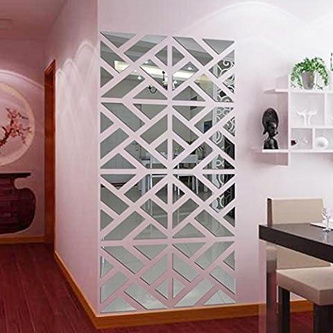 Oyedens 32pcs 3D Entfernbarer Spiegel Acryl DIY Wandaufkleber (Silber)