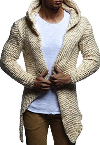 LEIF NELSON Herren Kapuzenpullover Strickjacke Hoodie Jacke Sweatjacke Zipper Sweatshirt LN20742; Gr_¤e M, Beige
