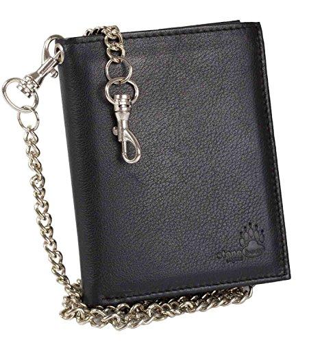 schwarze Geldbörse Bikerbörse mit Kette Kettenbörse Herrengeldbörse Geldbeutel Hochformat Leder Rindnappaleder