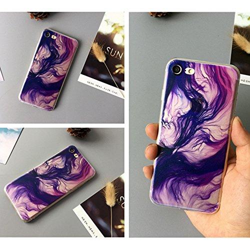 Silikon Schutzhülle Sunroyal Handyhülle durchsichtig für iPhone 5 5S SE Ultra Dünn Soft TPU Flex Hülle stoßdämpfende kristallklar Leichte Anti-scratch Case Weichem Aquarell Tasche Schutz Etui mit TPU  C07