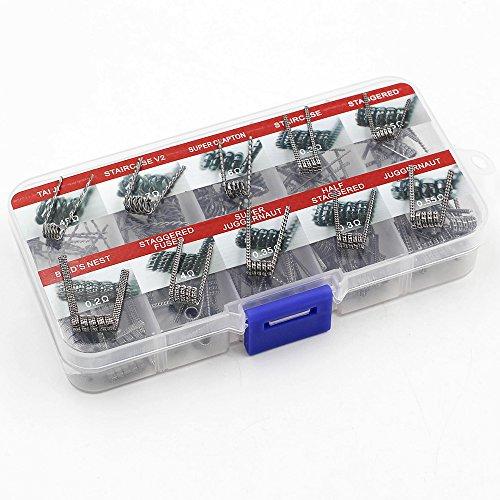Vapethink Vorkompilierte Spulen, 10-in-1-Set, 100Stück, Widerstandsdraht, 10verschiedene Heizdrähte (0,2 Ohm, 0,25 Ohm, 0,3 Ohm, 0,4 Ohm, 0,45 Ohm, 0,55 Ohm, 0,6 Ohm, 0,7 Ohm), nikotinfrei