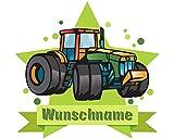 plot4u Traktor Türschild Wandtattoo mit Name Personalisierbar Kinderzimmer Türaufkleber Baby Wandaufkleber in 9 Größen (25x22cm Mehrfarbig)