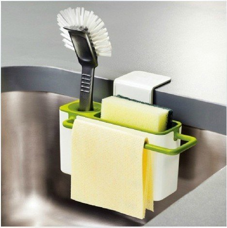 House of Quirk Self Draining Sink Tidy with Suction Cup Organizer Brush Sponge Cleaning Cloth Holder, White and Green