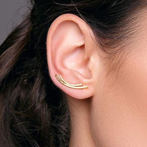 Paar Ohrencrawler, gebogene Leiste Ohrstecker, Ohr Manschette Ohrringe, hypoallergenen Bar Ohrringe, Gold Ohr Kletterer Ohrringe, earcuff, ear cuff