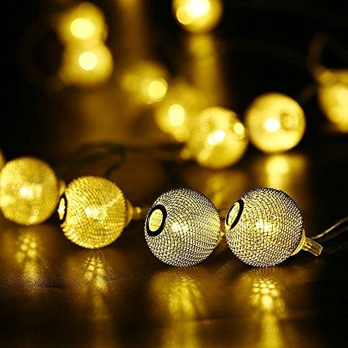 lederTEK 2.3m 20 LED Cadena de Luces de Navidad LED en Forma de Farol, de Diseño Moderno y Elegante, Fabricadas en Metal Reticulado para Árbol de Navidad,Fiesta, Interior de Decoración