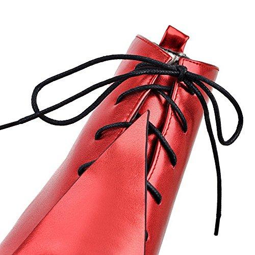 Nó Com Vermelho Rendas Baixo Apontou Botas De Salto Pura Allhqfashion Senhoras Alto w7SqHv6