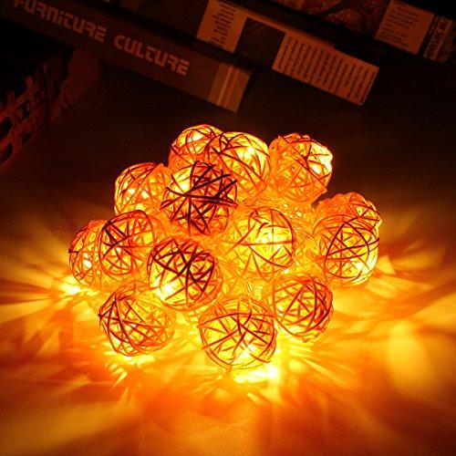 Happyit 3M 20pcs Led Rattankugel Lichterkette String Lights für Neujahr Weihnachts Dekoration Hochzeit Party Home Dekoration Lichter (Orange)